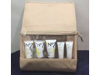 Brand new gold/nude cosmetic bag and boots No7 skin products