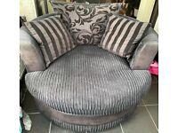 Black round cuddle chair (love seat) on swivel base