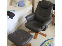 Soft touch dark brown faux leather recliner chair and matching stool