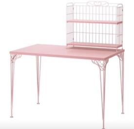 Pink Ikea Desk & Add-On Shelves
