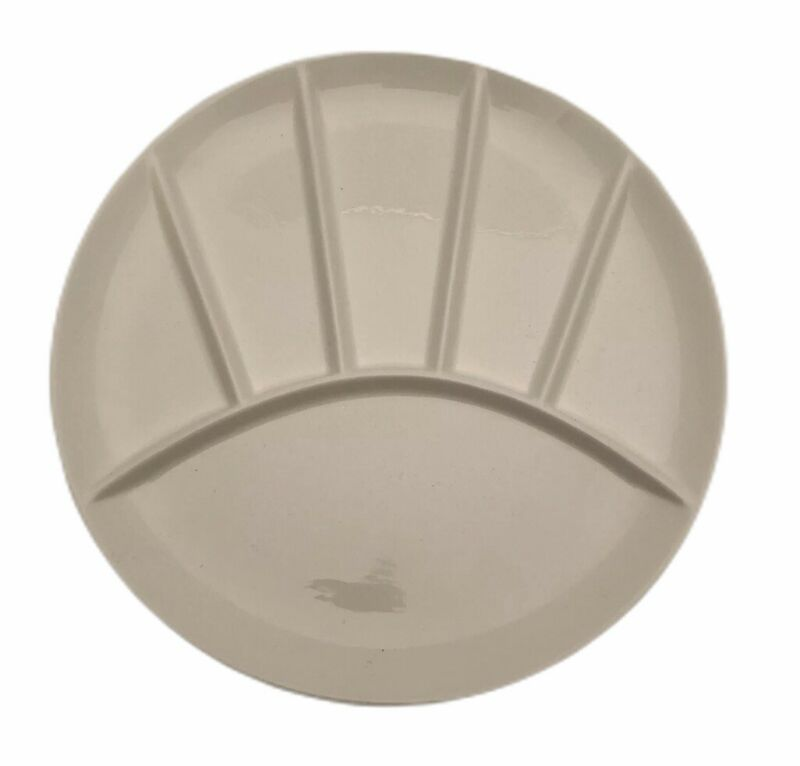 5 Part White Dinner Plate Ceramic Contemporary 9 1/8