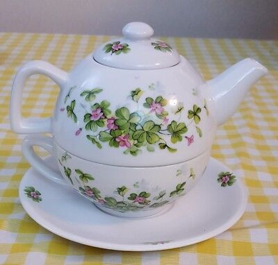 Single Serve Teapot, Cup and Saucer Ceramic Floral Shamrock