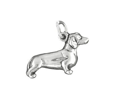 Dachshund Dog Charm Sterling Silver Pendant 3d Animal Pet Doxie