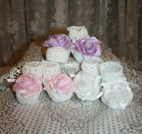NICE 3 Pairs WHITE w/White/Lavender/Pink Extra Large Flowers Baby Doll Booties