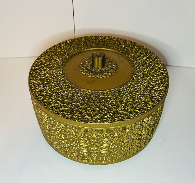 """Vintage Plastic Celluloid Gold Embossed Jewelry/sewing Trinket Box 8"""""""