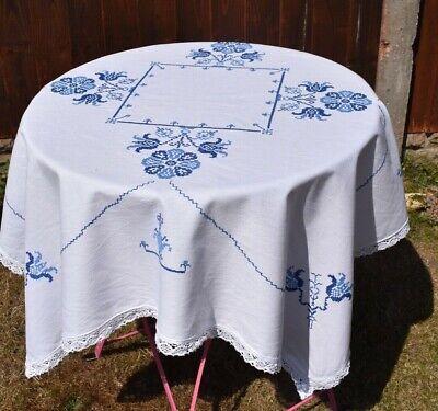 Vintage blue & white cross stitch   linen table cloth 42