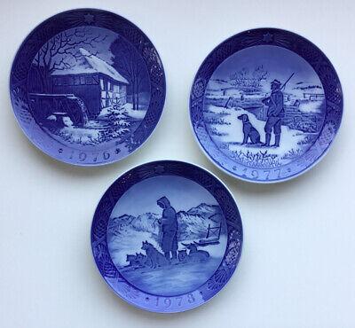 Lot of 3 Royal Copenhagen Blue Christmas Plates 1976, 1977, 1978 EUC!
