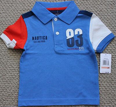 Nautica Polo Shirt Tee Top S/S Boy's 2 2T Blue $35 NWT