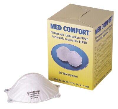 20 Stk. Med-Comfort filtrierende Halbmaske Atemschutzmaske ohne Ventil FFP2 NR D