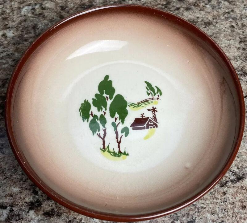 VTG Small Bowl Fruit Berry Brock Of California Brown Rim