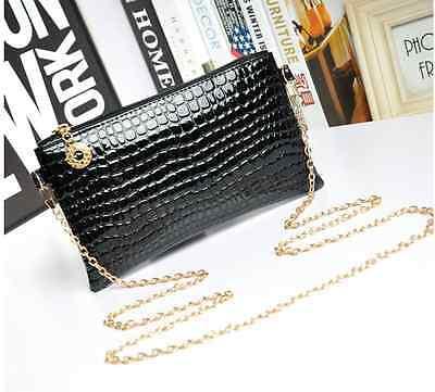 Clutch Kette gold klein Kroko schwarz blau rosa Handtasche Umhängetasche mini