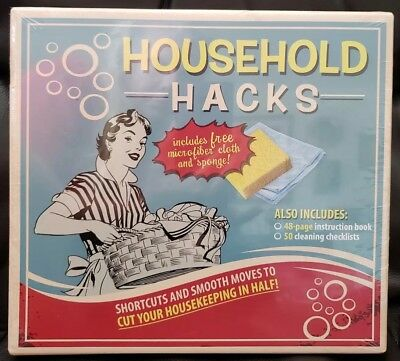 Household Hacks Box Kit Instruction Book & Cleaning Checklists NIB
