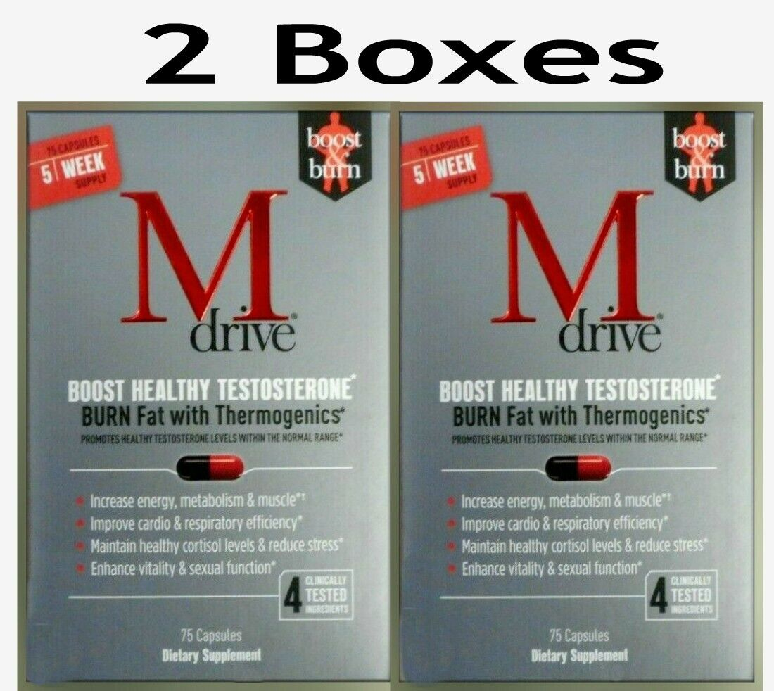 M Drive for Men (2 Boxes)Testosterone Booster 75 Capsules NIB EXP 03/2022