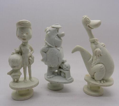Set of 3 Vintage 1973 Flintstones Chip-Away Figures by Kenner Fred Wilma & Dino