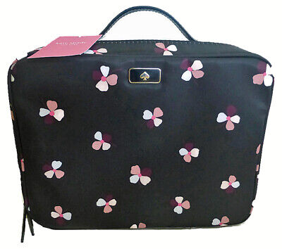 Kate Spade Travel Cosmetic Bag Dawn Dusk Buds Ditsy Black Floral Nylon Case
