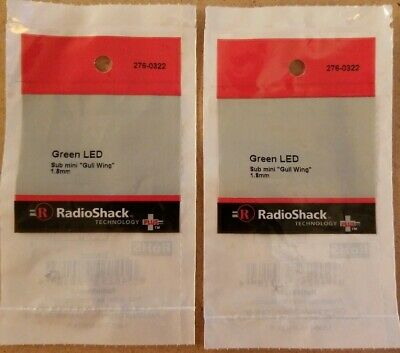 New Radioshack Green Led Sub Mini Gull Wing 2 Pack 276-0322 Free Shipping