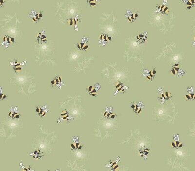 Lewis & Irene 'Botanic Garden' Bumblebees on Light Green