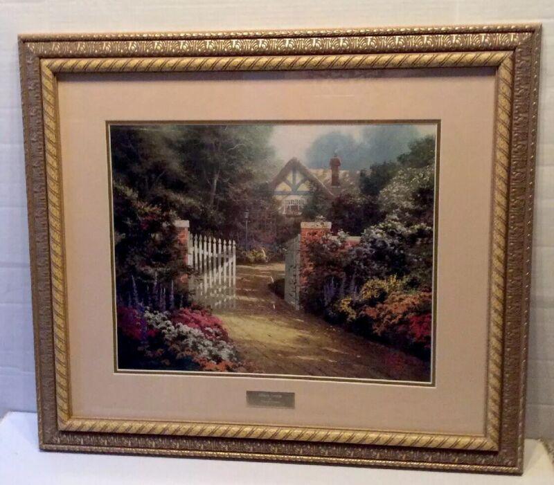 "Thomas Kinkade "" Hidden Cottage"" Print Library Edition 30"" X 27"" Framed Kinkade"