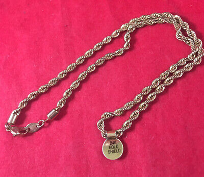 14 K Italy Marked Yellow Gold Necklace Chain 18 In. 24K Shield Tag NWT NOS 16 Gr