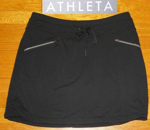 Athleta METRO Black Skort Skirt w/ shorts 2 FRONT ZIP & 2 BACK PKTS  EC RUN  S