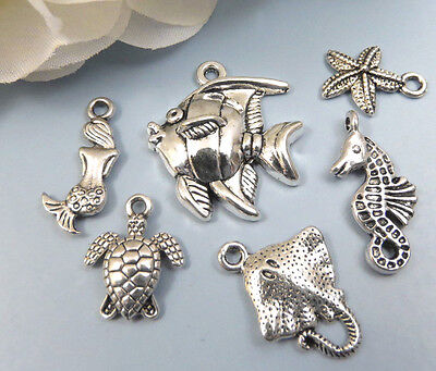 6 UNDER the SEA Charms, Antique Silver Mixed Collection Lot Set Beach - Under The Sea Crafts