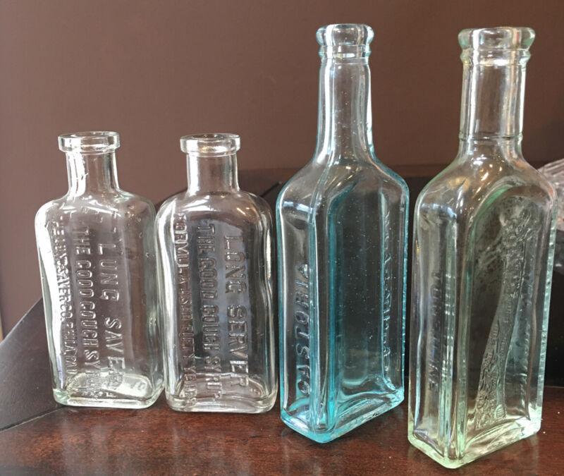 Lot of 4 Vintage Medicine Bottles - See Description For Details