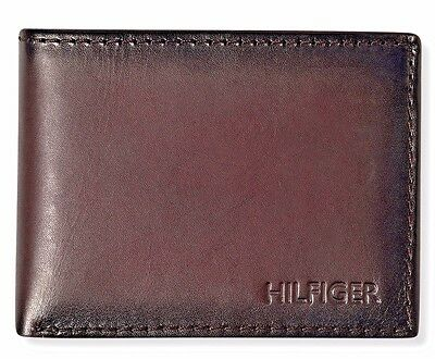 $97 TOMMY HILFIGER Mens BROWN LEATHER PASSCASE DOUBLE BILLFOLD CARD ID WALLET