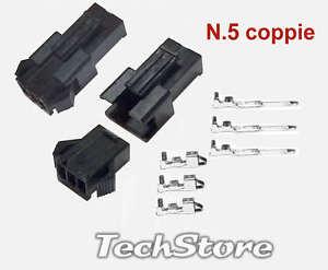 N-5-Coppie-Connettori-tipo-JST-SM-3-pin-2-5mm-5x-maschio-5x-femmina-neri