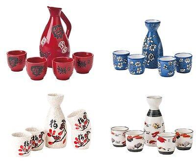 Sake Set - Sake Karaffe + 4 Sake Becher Sake service 5 teilig China Japan Sushi ()