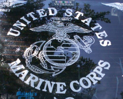 "USMC MARINE CORPS STICKER DECAL 11.5"" TALL full detail WITH WORDING CHOICE"