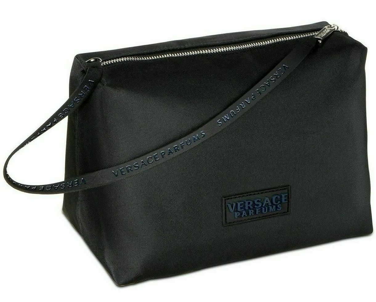 VERSACE BLACK toiletry pouch travel trousse bag wristlet NEW
