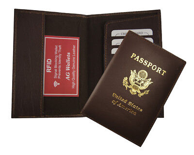 RFID Signal Blocking Leather Passport Cover Scan Proof Travel ID Wallet Brown