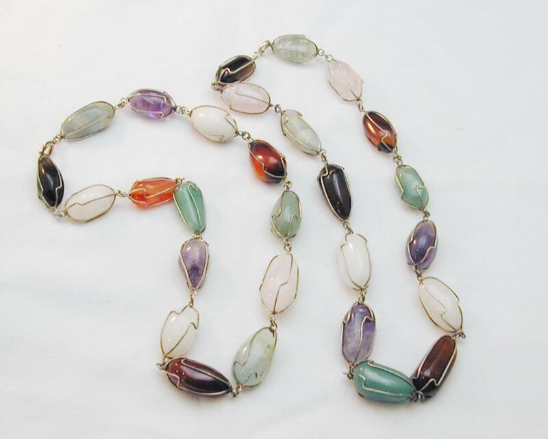 """2 Natural Semi Precious Gemstone Wire Wrapped Link Necklaces 17.5"""""""