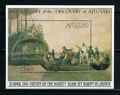 Aitutaki 1989 Sc#434  Mutiny on the Bounty-200th Anniv.  MNH Souvenir Sheet $11