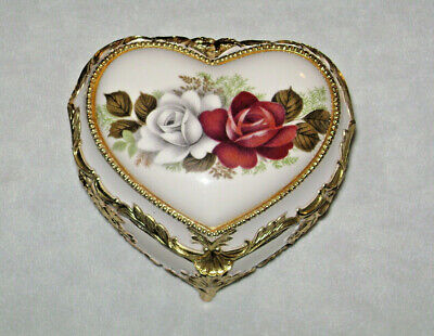 Vintage Heart Shape Porcelain Roses Jewelry Trinket Box Rococo Gold Trim
