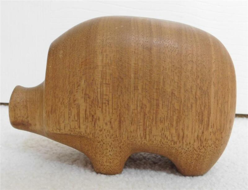 """Handmade Wood HEDGEHOG PIG Sculpture 4"""" tall x 6"""" long"""
