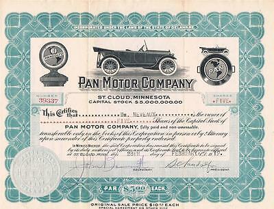 PAN MOTOR COMPANY STOCK CERTIFICATE 5 SHARES ST CLOUD MN 1919 FAMOUS MAIL FRAUD