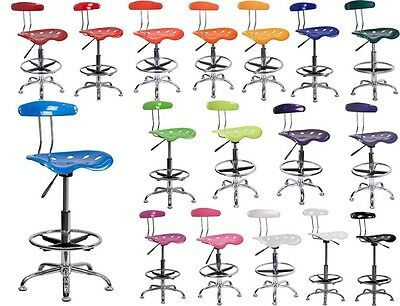 - VIBRANT BLACK AND CHROME DRAFTING STOOL WITH TRACTOR SEAT ADJUSTABLE BAR STOOL