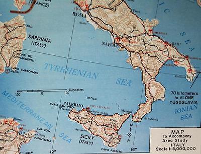 ITALY MAP & AREA STUDY GUIDE #6  U.S. ARMY  1964 VINTAGE VIETNAM WAR ERA