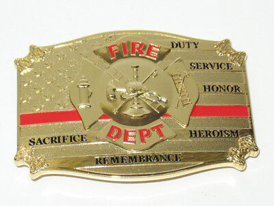 Firefighter Fireman Flag RED Line All Metal Belt Buckle Made In USA IN STOCK
