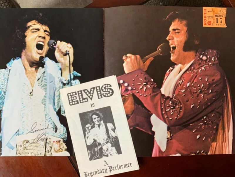 VERY RARE ELVIS PRESLEY MARCH 17, 1974 MEMPHIS CONCERT TICKET STUB, FOLIO, +
