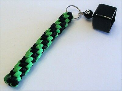 Billard Pool Cue Chalk Holder Made Of Paracord Neon Green & Black In Color