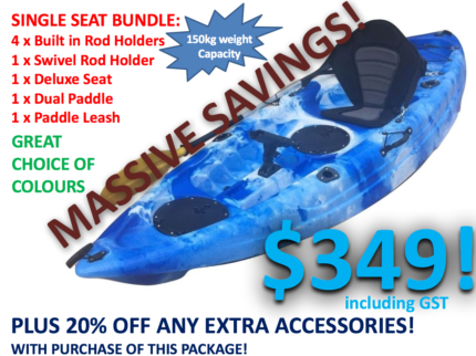 NEW Single Seat Kayak Package 2.7m Lifetime Warranty Great Value!