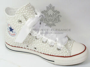 Womens-Wedding-white-pearl-bridal-flat-Customised-High-Top-Converse-Sizes-3-8