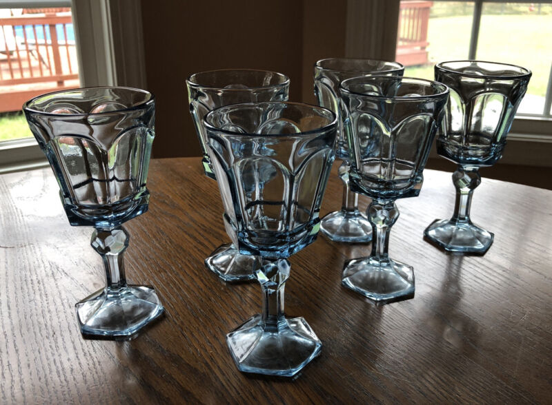 Vintage Fostoria Virginia Light Blue Wine Footed Glass Goblets - 6