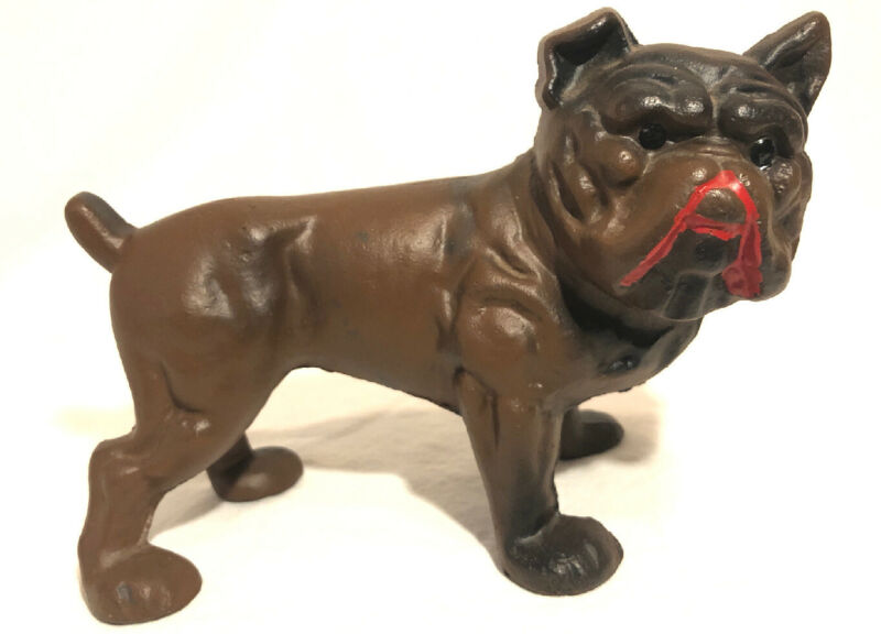 Antique Early 1900s Old English Bulldog Cast Iron Bank Doorstop