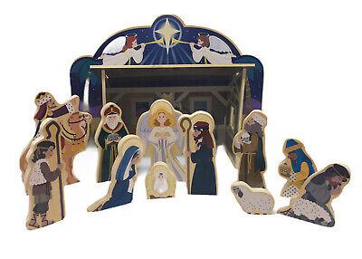Melissa & Doug Wooden Nativity Set 4 Piece Stable 11 Figures Complete Christmas