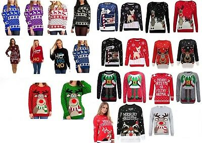 Christmas Xmas Pullover Sweater Retro Novelty Jumper Sizes (Xmas-pullover)