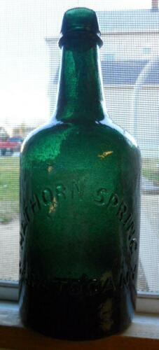 Dark Green Whittled Sparkling Hathorn Saratoga NY Mineral Spring Water Bottle