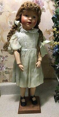 """Rare Antique 1911 SCHOENHUT Wood Jointed Blonde Doll 22"""" W/ Braids rosie cheeks"""